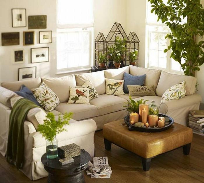 wohnung einrichten ideen wohnzimmer pflanzen wanddeko dekokissen kerzen