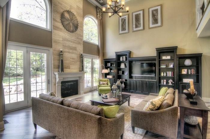 wohnung einrichten ideen wohnzimmer schicke sofas kamin teppich gemütlich