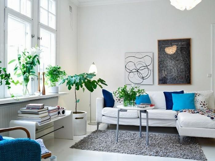 wohnzimmer einrichten ideen wohnung einrichten ideen wohnzimmerumweltstil pflanzen grauer teppich weises sofa