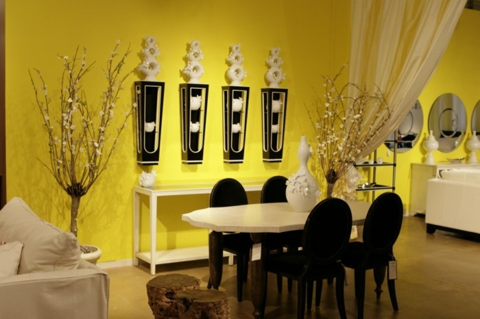 wohnungseinrichtung esszimmer einrichten gelbe wände