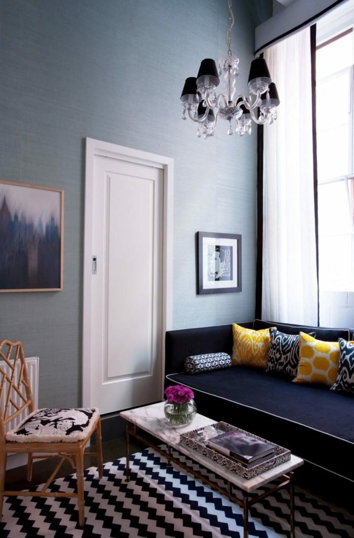 wohnungseinrichtung gelbe akzente wohnzimmer einrichten