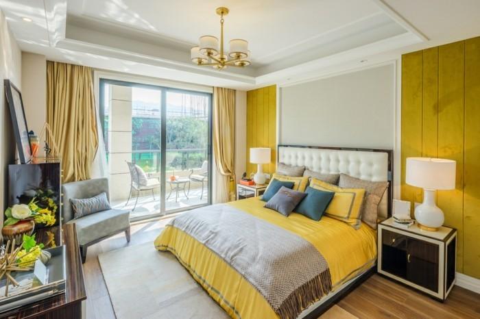 wohnungseinrichtung gelbe bettwäsche dekokissen wanddeko hellgelbe gardinen