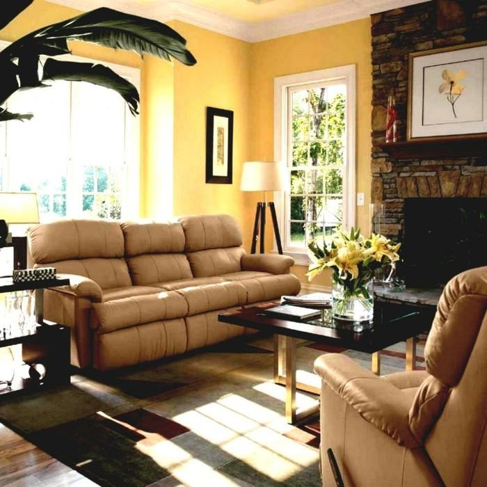 wohnzimmer hellgelb:wohnungseinrichtung wohnideen wohnzimmer gelbe akzentwand eleganter