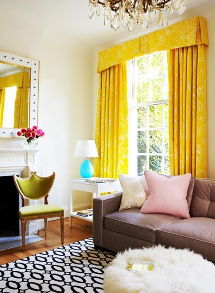 wohnungseinrichtung wohnideen wohnzimmer gelbe gardinen weiße wände