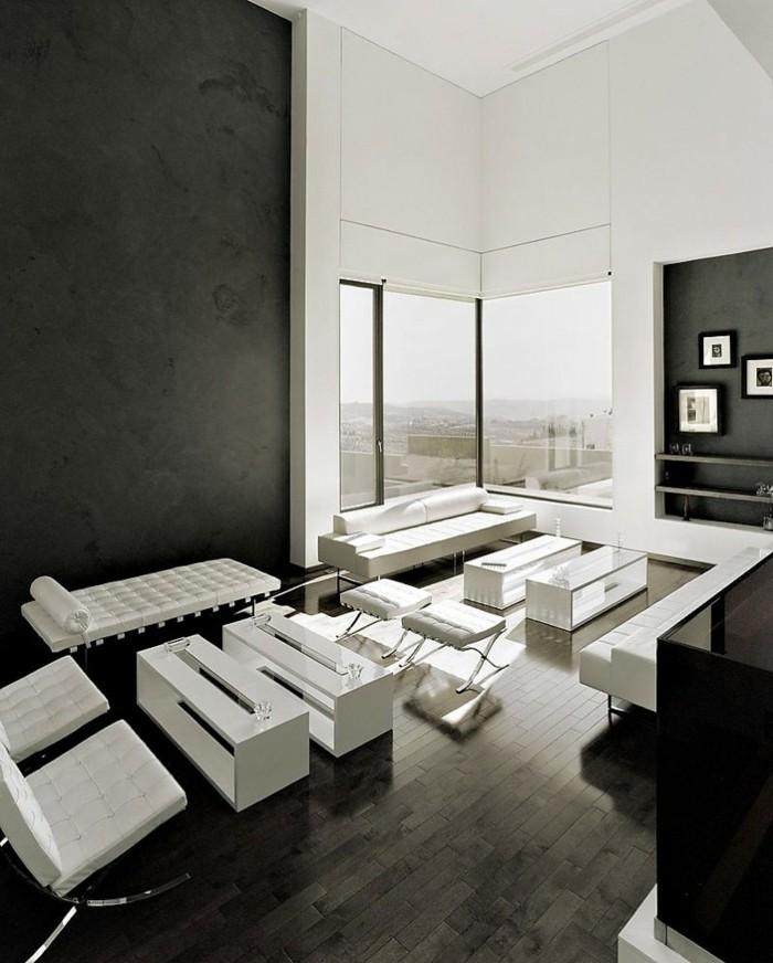 wohnungsgestaltung weiß schwarzes interieur farbkontrast