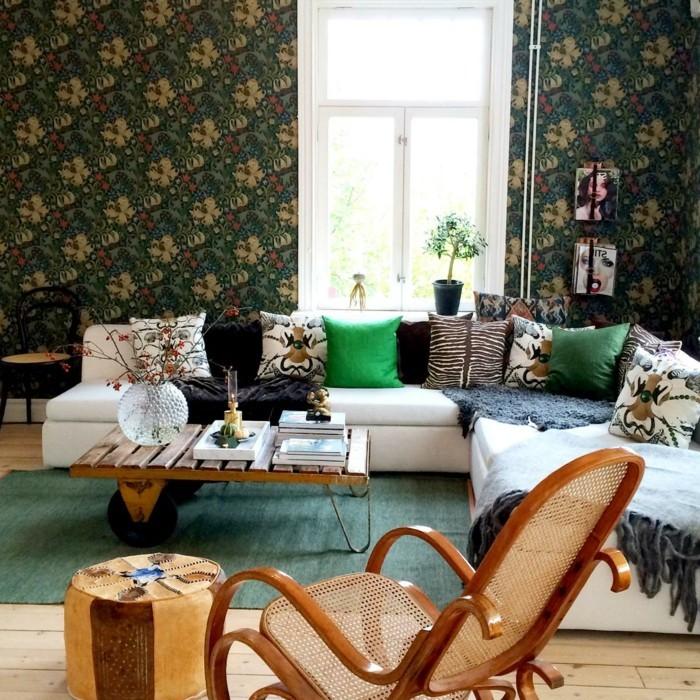 wohnungsgestaltung wohnzimmer schönes wanddesign grüner teppich