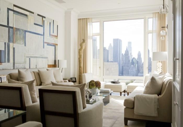 wohnungsgestaltung wohnzimmer schönes wanddesign helle möbel