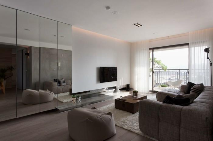 wohnzimmer einrichten möbel neutrale farben spiegel