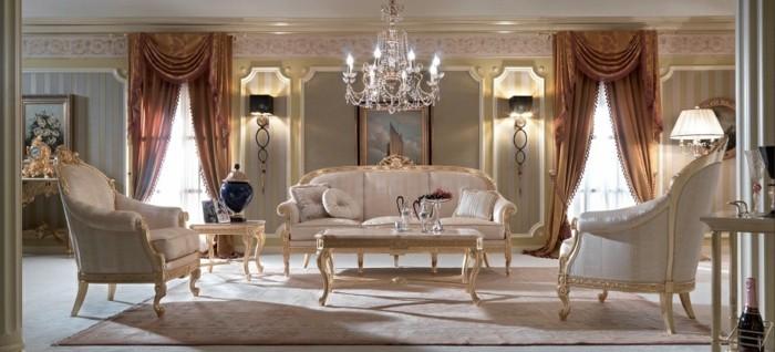 zimmer einrichten ideen rokoko wohnzimmer braune gardinen heller teppich