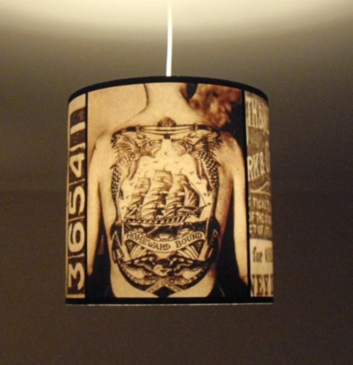 diy ideen wohnideen bastelideen goldpapier aufziehen lampenschirm2