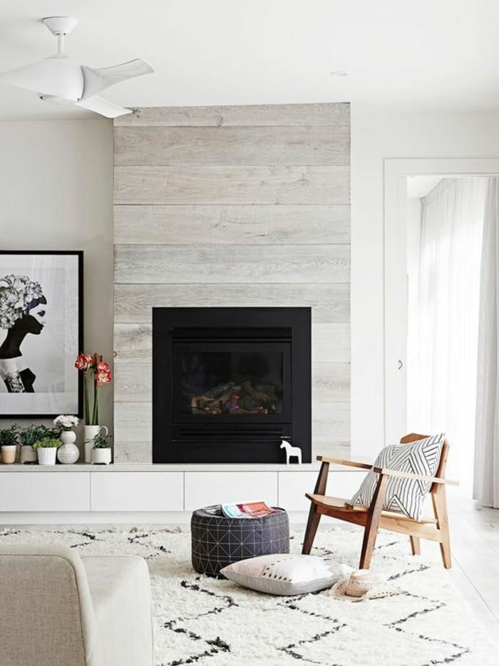 Wohnzimmer Einrichten Kamin Design Stauraum Brennholz