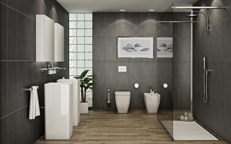 badezimmergestaltung moderne badgestaltung ideen badfliesen holzboden - Moderne Badgestaltung Beispiele