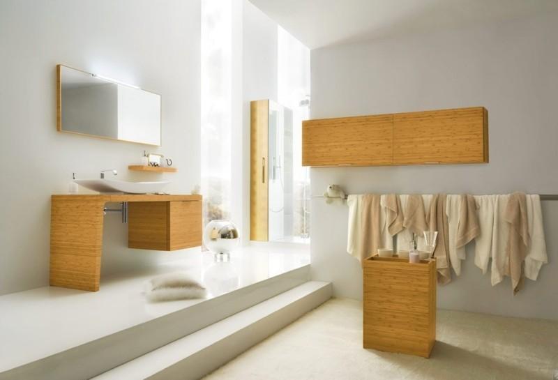 badezimmergestaltung moderne badgestaltung ideen holzmöbel waschtisch