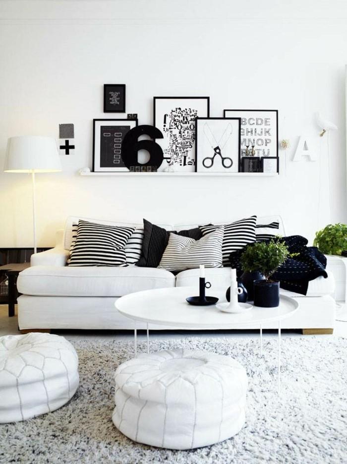 bilderleisten wohnideen wohnzimmer dekoideen dekokissen streifen skandinavisch wohnen
