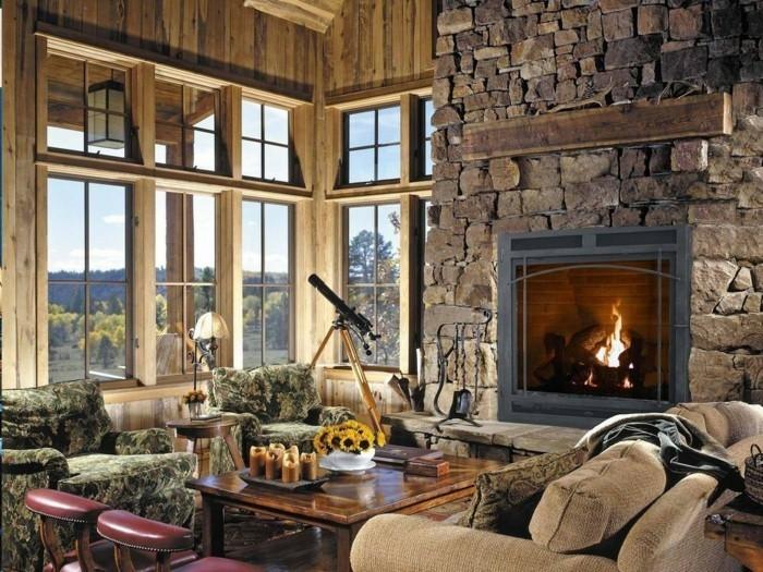 In einem ländlichen Wohnzimmer würde eine Steinwand den Kamin schön ...