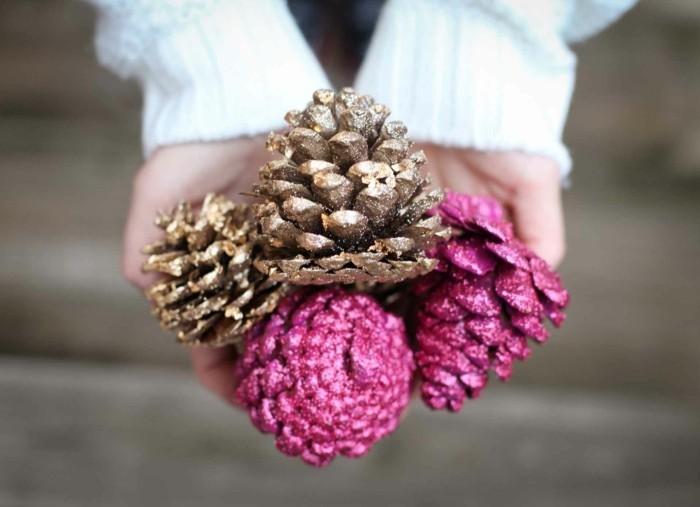 diy deko zapfen dekorieren rosa golden