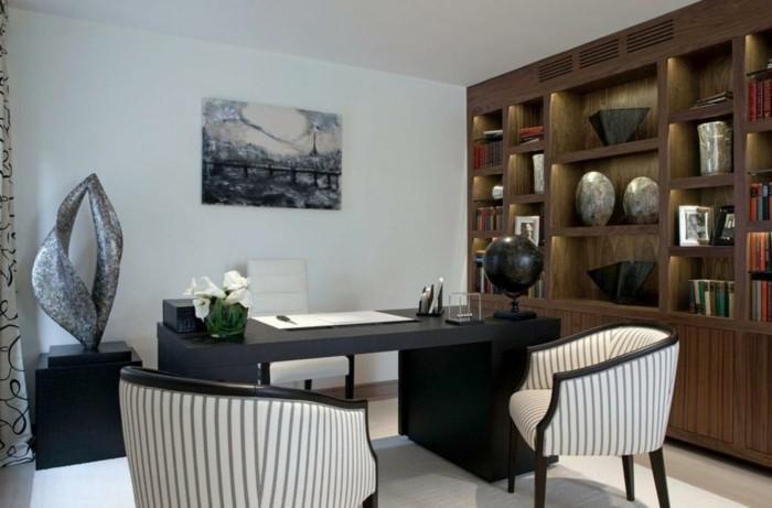 einrichtungsideen wohnzimmer homeoffice integrieren gemälde dekoideen lange gardinen