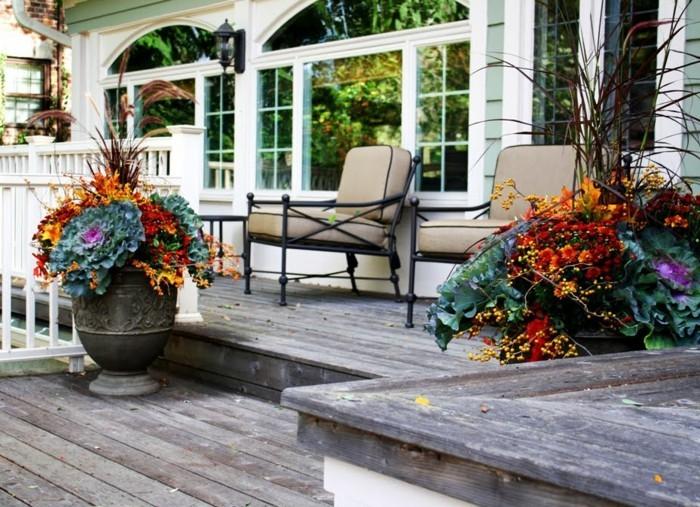 gartenideen herbst stimmung schaffen blumenkohl dekorativ herbstblumen eingang