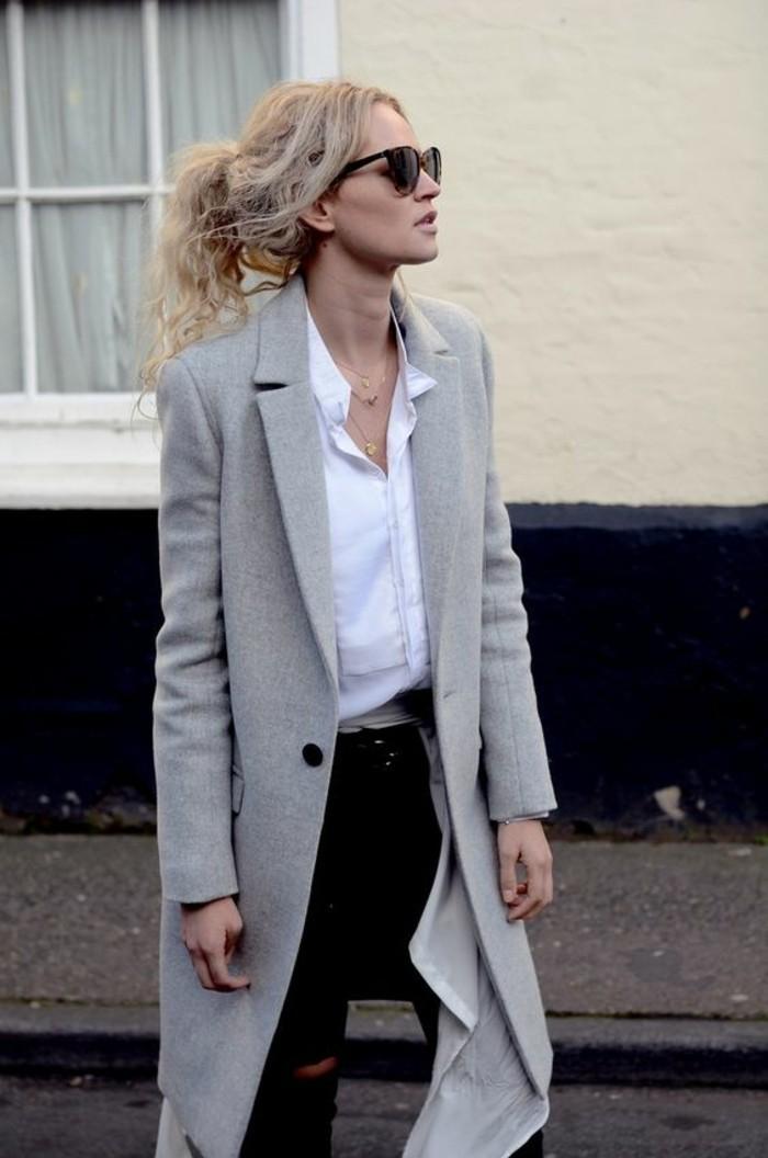 grauer mantel herbstmode aktuelle trends elegante damenmode