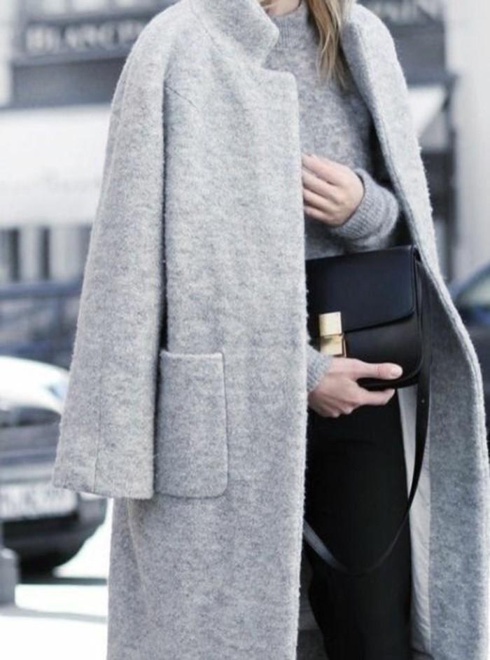grauer mantel herbstmode aktuelle trends klassischer mantel