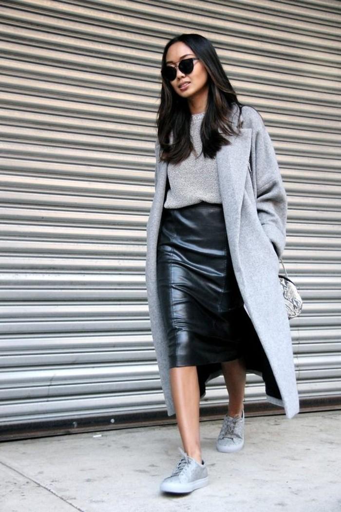 grauer mantel outfit bleistiftsrock modetrends