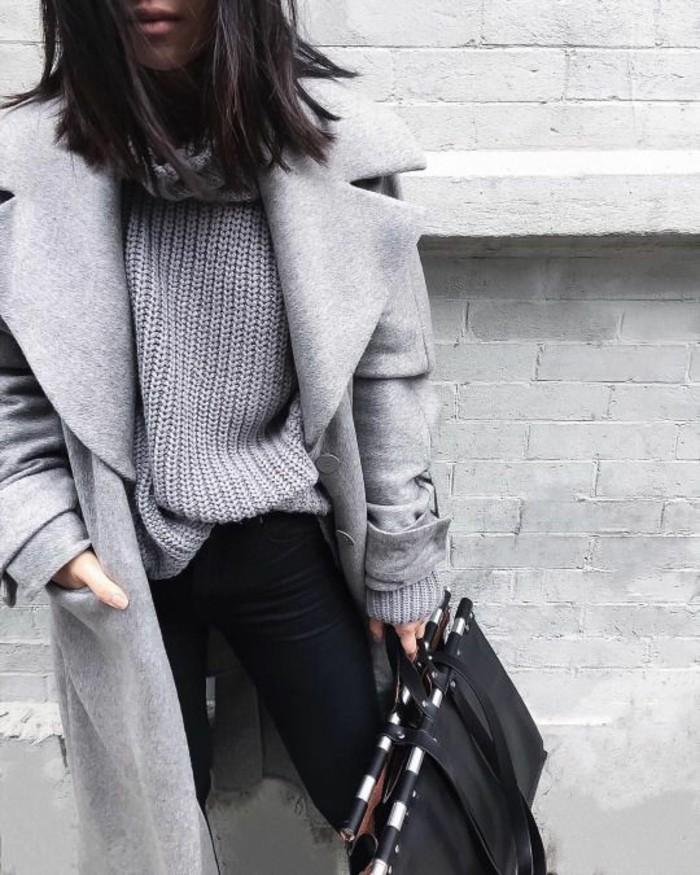 grauer mantel outfit grauer pulli wintermode