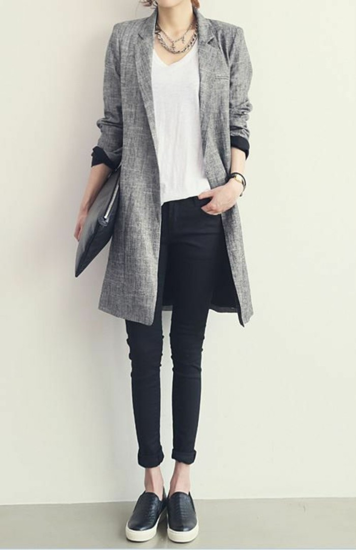 grauer mantel outfit herbstmode damenmantel