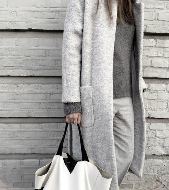 grauer mantel outfit herbstmode damenmode mantel grau