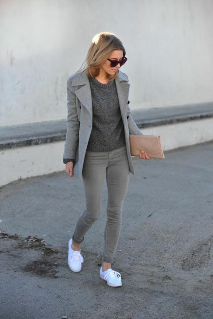 grauer mantel outfit herbstmode strasenmode damenmantel kurz