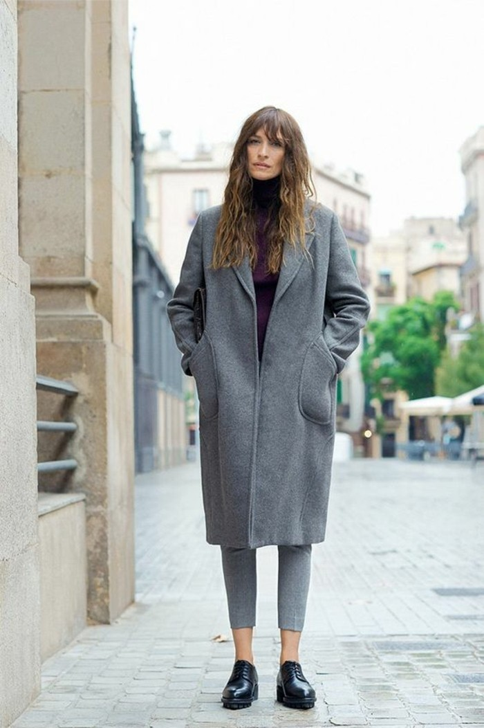 grauer mantel outfit herbstmode streetstyle trends