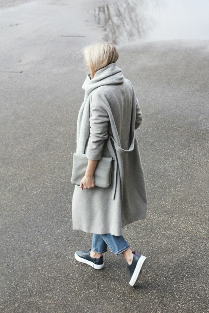 grauer mantel outfit herbstmode trends