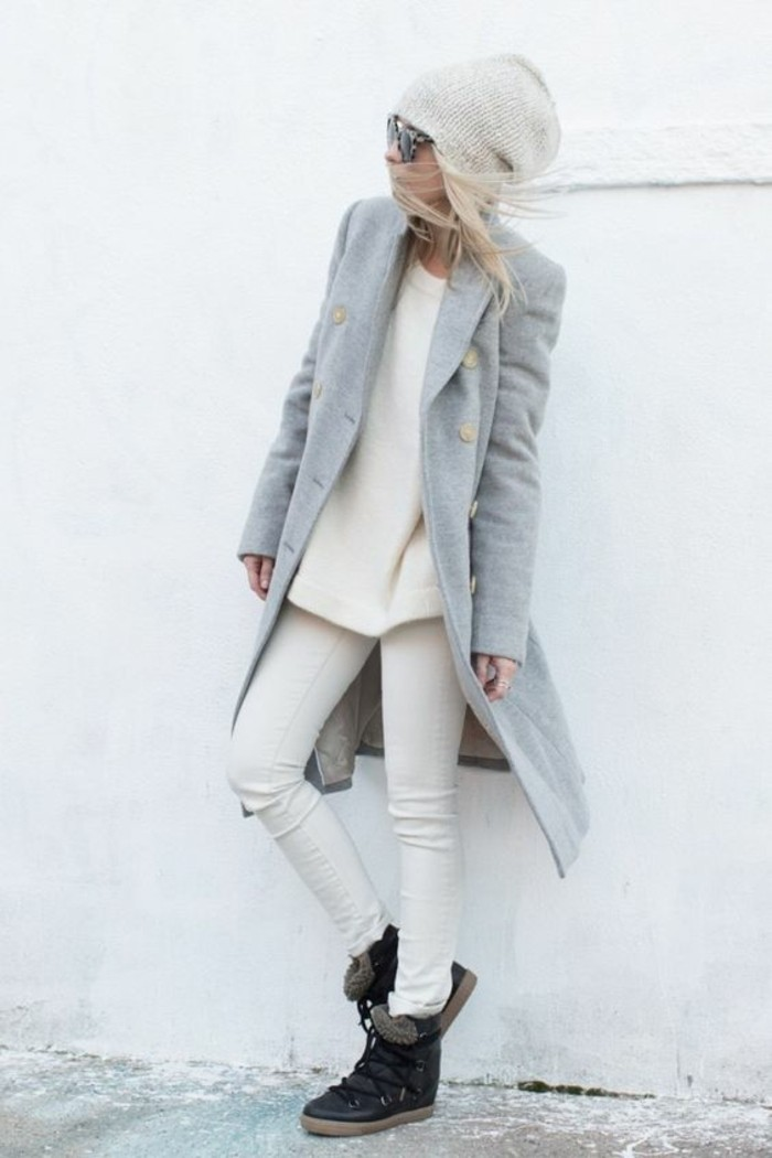 grauer mantel outfit wintermode damenmantel zweireihig
