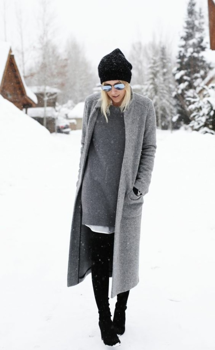 grauer mantel outfit wintermode modetrends