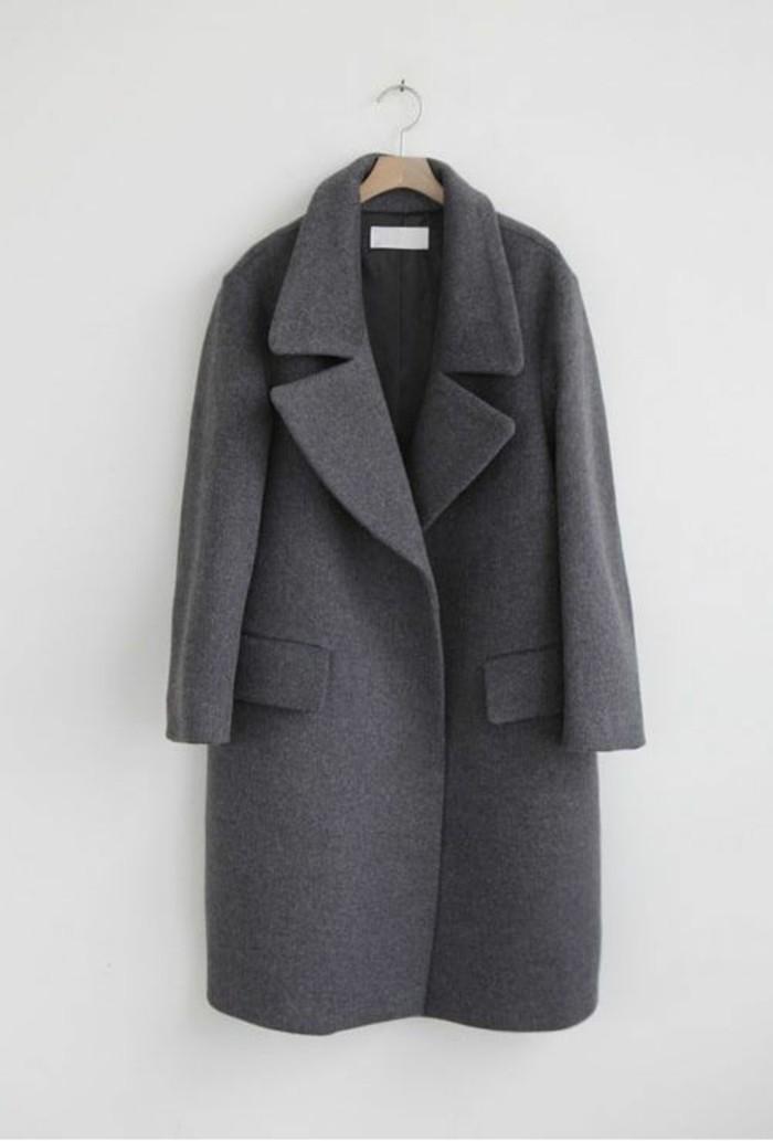 grauer mantel outfit wintermode trends damenmantel dunkelgrau