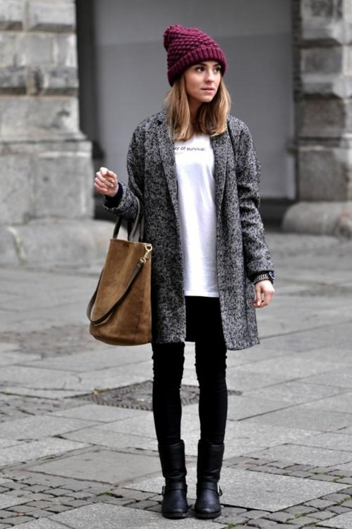 grauer mantel outfit wintermode trends damenmode