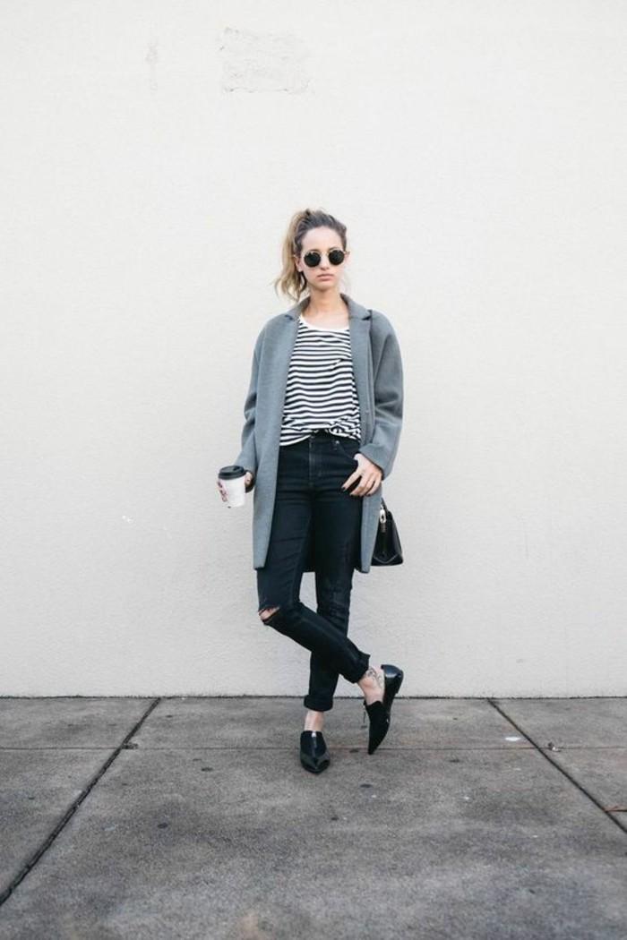 grauer mantel outfit wintermode trends mantel kurz