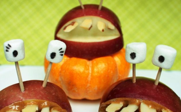 halloween-ideen-apfel-monster-lecker-lustig
