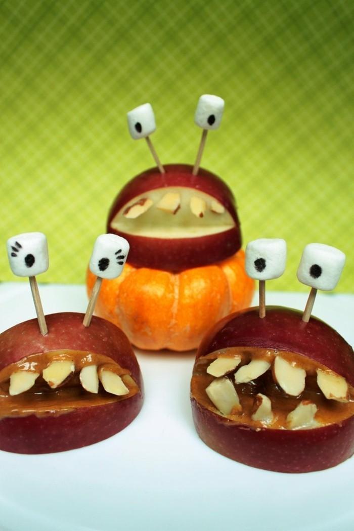 halloween ideen apfel monster lecker lustig