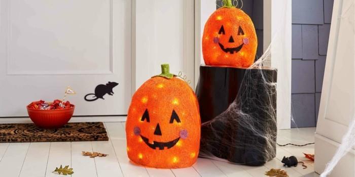 halloween ideen dekoideen eingang kürbisse