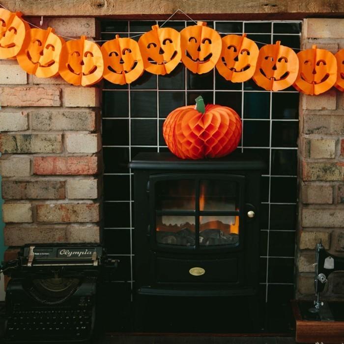 halloween ideen dekoideen papiergirlande kürbisse