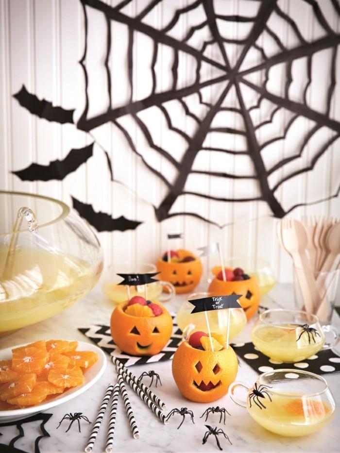 halloween ideen festlicher tisch kürbisse spinnen