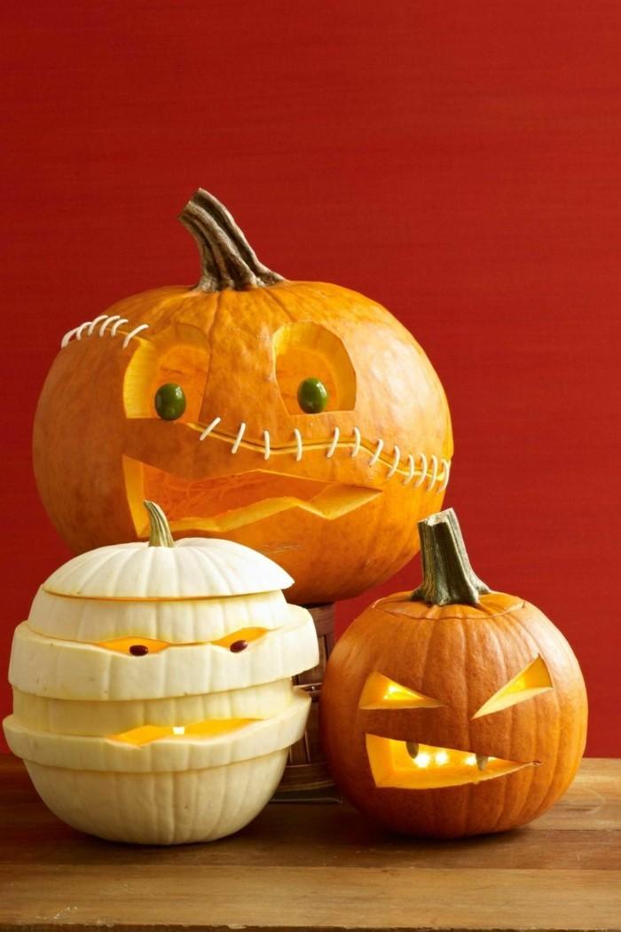 halloween ideen kürbisse schneiden monster basteln