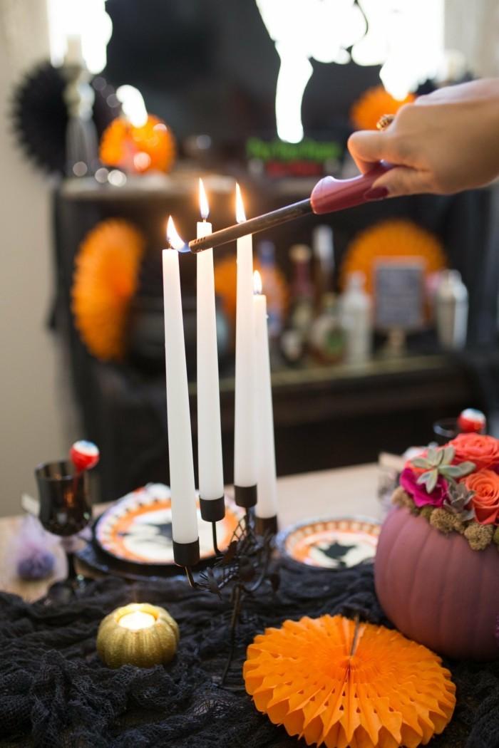 halloween ideen tischdeko ideen kerzen kürbisse