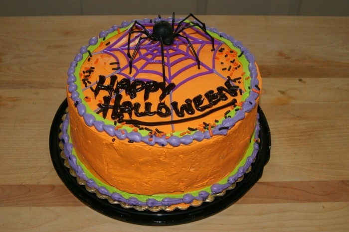halloween ideen torte backen orange spinne deko