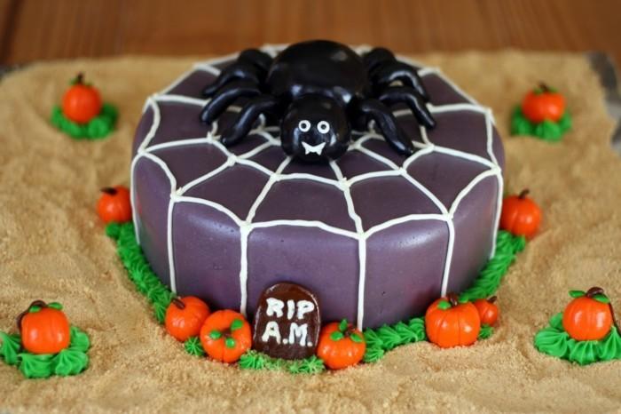 halloween ideen torte spinne kürbisse
