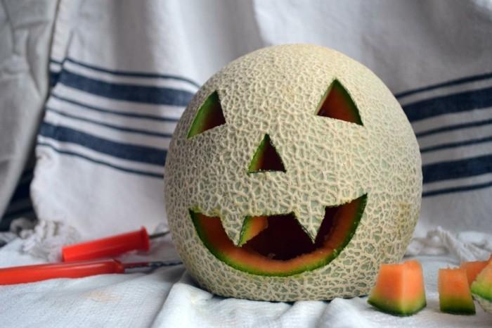 halloween ideen zuckermelone monster selber machen