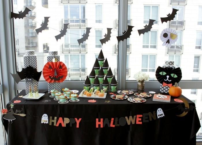 halloween party ideen tischdeko schwarze tischdecke gruß dekoideen