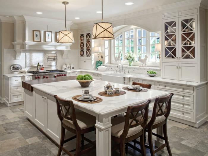 Haushalt tipps kücheninsel barhocker hängelampen bodenfliesen weiße