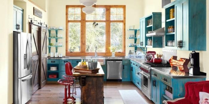 hausrenovierung dekoration kuchengestaltung blaue kuchenschrannke holz