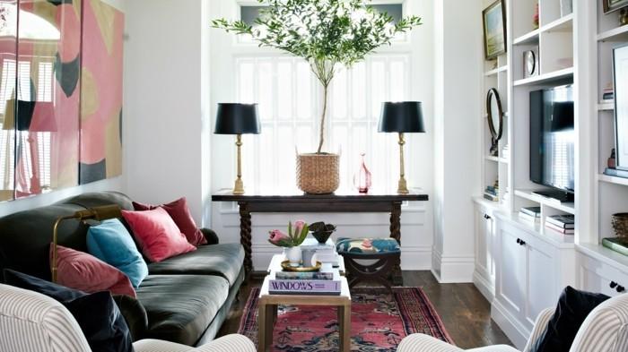 hausrenovierung kleines wohnzimmer einrichten tischleuchten perserteppich sofa